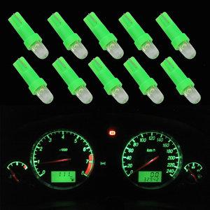 10 x T5-286  1 led dashboard-lampjes groen
