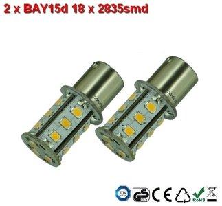 2x BAY15d-18x2835smd- Cool-Wit 10-36v Navigatie
