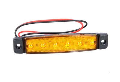 LED zijmarkering 6 led 12-24v Oranje E-keur